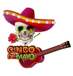Cinco de Mayo Mexican skull in sombrero holding vector image