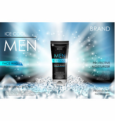 Cooling men face wash with ice cubes realistic vector
