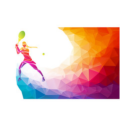 Creative silhouette female tennis player vector