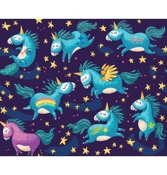 Cute seamless pattern with unicorns in the night vector