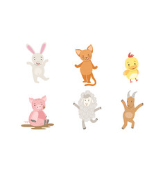 cute smiling animals set happy chicken bunny vector image