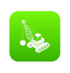 Demolish truck icon green vector