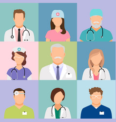 Doctors and nurses profile icons vector