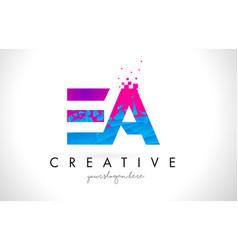 Ea e a letter logo with shattered broken blue vector
