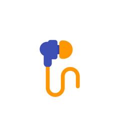 earbud headphones icon on white flat vector image