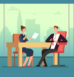 Employee woman and interviewer boss meeting vector