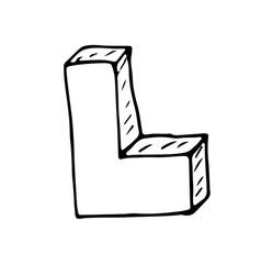English alphabet - hand drawn letter L vector