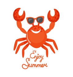 Enjoy summer crab in glasses oceanic animal vector
