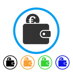 euro wallet rounded icon vector image