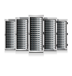 Five servers white in cabinets vector