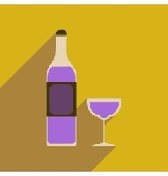 Flat web icon with long shadow glass wine vector