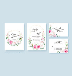 floral wedding invite card save date rsvp vector image