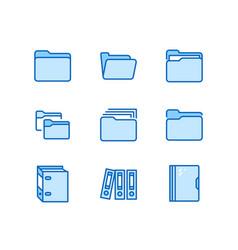 folder flat line icons document file vector image