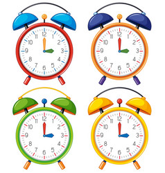 four alarm clocks with different time vector image