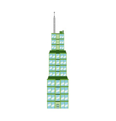 Green building glasses antenna tower city vector