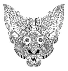 Hand drawn bat head in entangle style vector