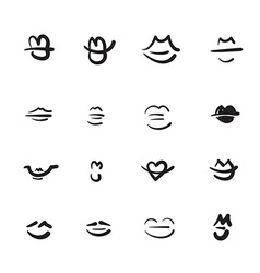 Hand drawn lips icon set vector image