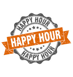 Happy hour stamp sign seal vector