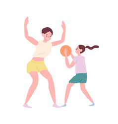 Happy mother and daughter playing basketball vector