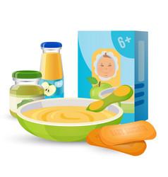 Healthy breakfast for baby with porridge vector