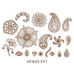 Henna tattoo doodles set vector