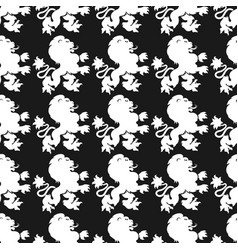 heraldic seamless pattern with lion silhouette vector image