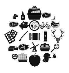 hound icons set simple style vector image