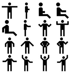 Image set of posture people icons vector