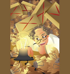 inventor with stack of broken light bulb vector image