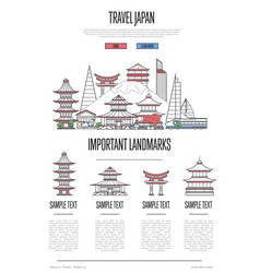 Japan travel infographics in linear style vector