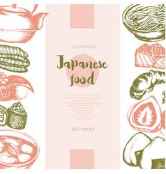 Japanese food - color hand drawn postcard banner vector