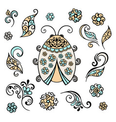 ladybug decorative lace hand drawn vector image