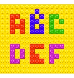 Lego blocks alphabet 1 vector image
