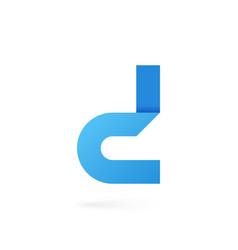 letter d logo on white alphabet background vector image