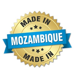 Made in Mozambique gold badge with blue ribbon vector