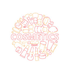 makeup symbols beauty woman cosmetic items in vector image