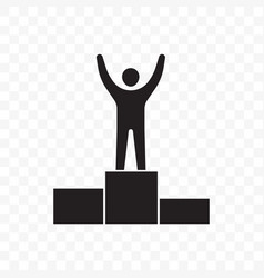 Man on pedestal success win line icon vector