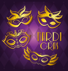 Mardi gras carnival party poster background vector