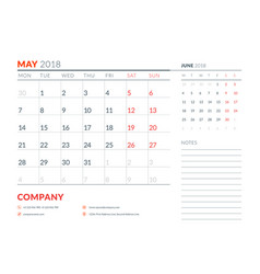 may 2018 calendar planner design template week vector image vector image
