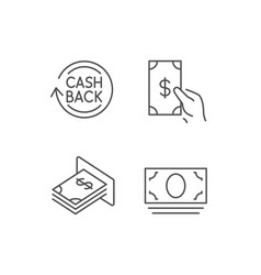 money cashback and atm line icons vector image