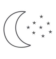 moon and stars thin line icon night and forecast vector image