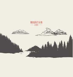 mountain lake pine forest style hand drawn vector image