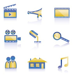 movie and cinema icons vector image