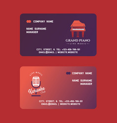 Musical instruments set manager business cards vector