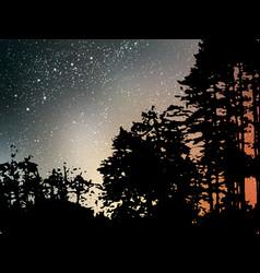 night starry landscape background universe vector image