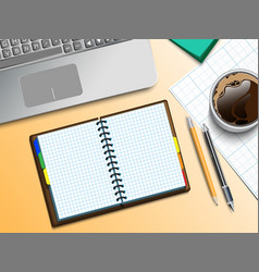 Notebooke computer and cup of coffee vector