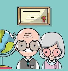 Old woman and man teacher with diploma and global vector