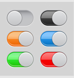 On and off toggle switch buttons colored set of vector