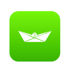 origami boat icon green vector image