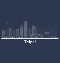 Outline taipei taiwan republic city skyline with vector